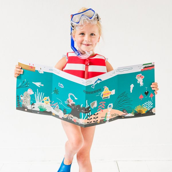Girl holding Giant Stickering Poster Water
